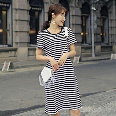 条纹连衣裙中长款2020夏季新款修身显瘦圆领短袖a字裙纯棉文艺女