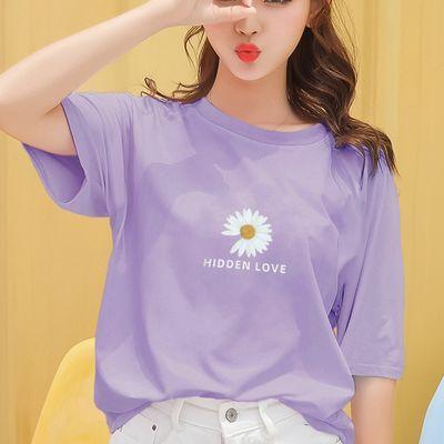 100%纯棉2020年夏季新款小雏菊短袖T恤女宽松韩版网红ins潮紫上衣