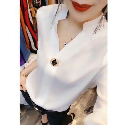 欧洲站2020春装新款欧货设计感长袖雪纺白衬衫女小众衬衣打底衫潮