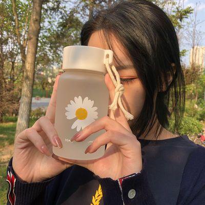 小雏菊磨砂高硼硅玻璃水杯韩版简约淑女清新森系学生杯子便携提绳