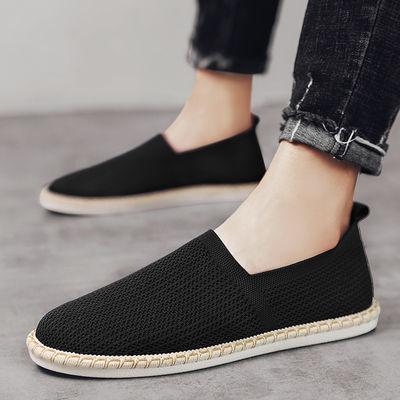 夏季韩版潮流百搭网面透气豆豆板鞋男士休闲一脚蹬老北京帆布鞋子