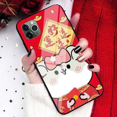 华为nova鼠年5新年5i过年pro红色2/s/plus/3/3e/3i/4玻璃4e手机壳