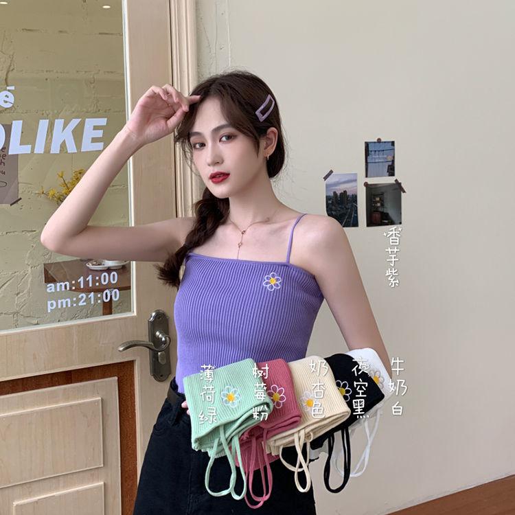 新款吊帶裙紫色吊帶女外穿背心夏季新款韓版修身刺繡花朵針織打底衫上衣