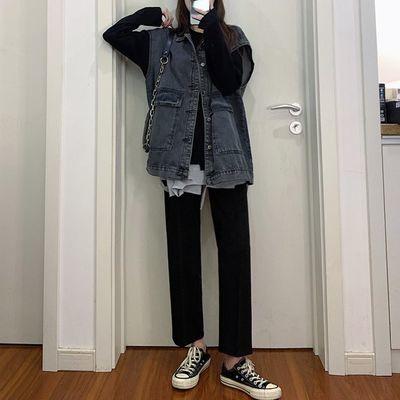 阔腿裤女学生韩版休闲直筒宽松裤子女显瘦春夏秋新款黑色九分西装