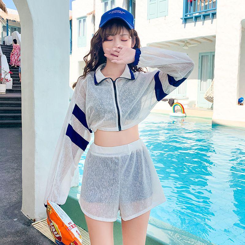 分体式游泳衣女四件套装仙女范保守遮肚显瘦学生ins风泡温泉泳装