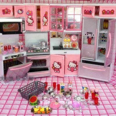 热卖hellokitty凯蒂猫女孩儿童过家家迷你仿真小厨房冰箱做饭玩具