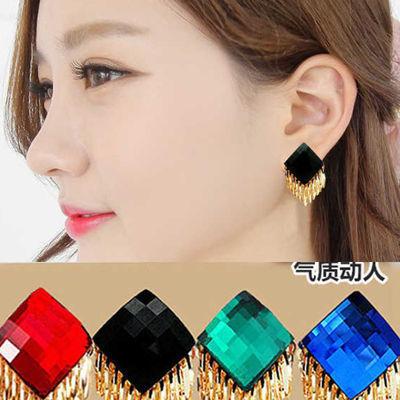 韩国水晶流苏职场时尚气质新娘红大耳环耳钉女耳扣耳饰