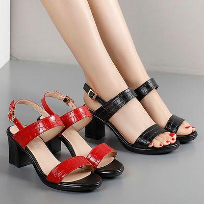 漆皮石头纹黑色一字扣带凉鞋粗跟7CM百搭凉高跟鞋红色仙女风凉鞋