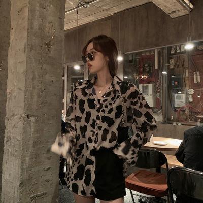 【好质量】实拍夏季新款韩版时尚休闲百搭复古豹纹印花长袖衬衫女