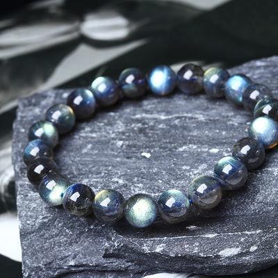 天然灰月光石水晶玛瑙手链冰种玻璃体开运强蓝光彩虹光女款手串男