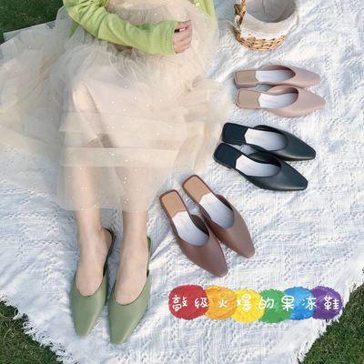 拖鞋女外穿2020年新款夏季ins女网红包头半拖鞋复古英伦穆勒凉拖