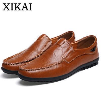 希凯皮鞋秋季英伦手工真皮豆豆鞋潮流夏季透气男鞋舒适软皮爸爸鞋