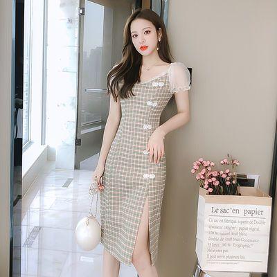 2020夏季新款复古旗袍改良连衣裙木耳网纱拼接格子短袖裙子女女装