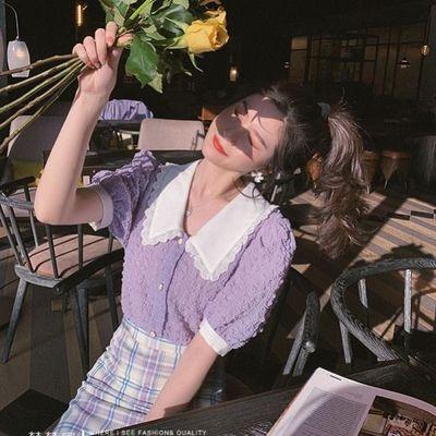 紫色复古泡泡袖雪纺衫上衣夏季新款超仙宽松娃娃领甜美洋气小衫潮