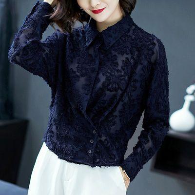 新款2020爆款心机衬衫设计感欧洲站新款洋气女装打底翻领衬衣长袖