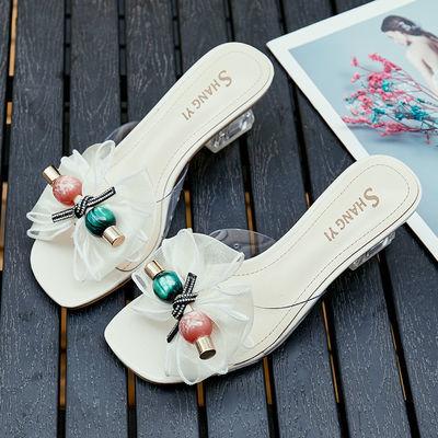 粗跟凉拖鞋女夏季外穿网红仙女风高跟鞋蕾丝蝴蝶结水晶跟一字拖鞋