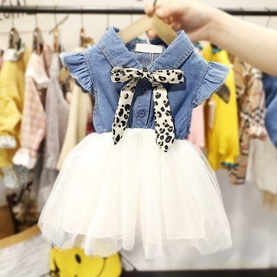 爆款2020女宝宝0--4岁秋装牛仔网纱裙女童韩版假两件裙子婴幼儿洋