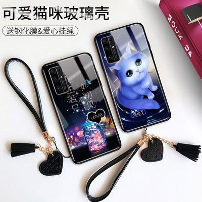 华为荣耀30手机壳玻璃30S女款荣耀30Pro防摔保护套网红新款猫咪