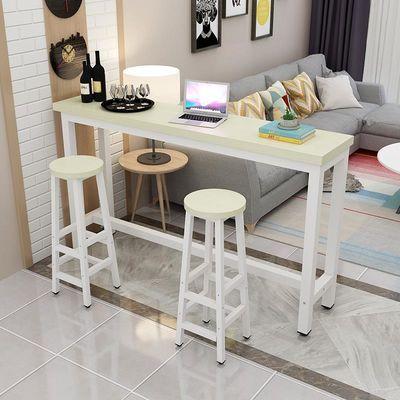 简约钢木吧台桌家用客厅隔断靠墙窄餐桌咖啡厅高脚桌椅组合长条桌