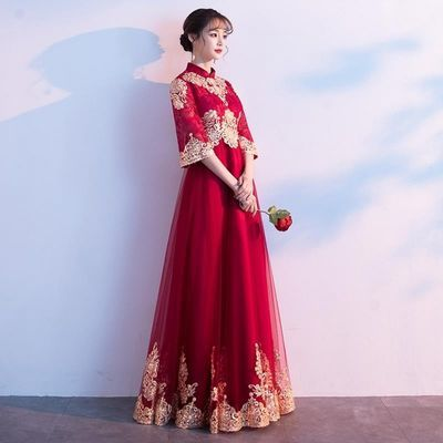 敬酒服酒红色七分袖2020新款高腰遮肚子中式新娘结婚礼服女显瘦