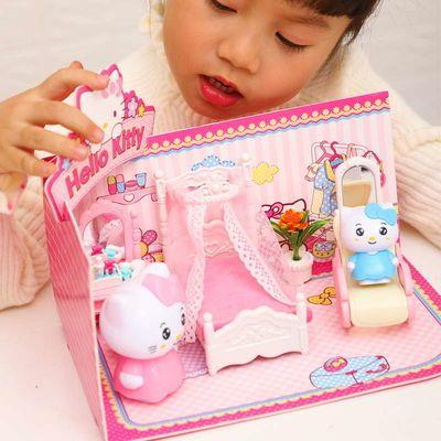 热销儿童过家家玩具女孩公主hellokitty3D立体套装餐厨房客厅生日