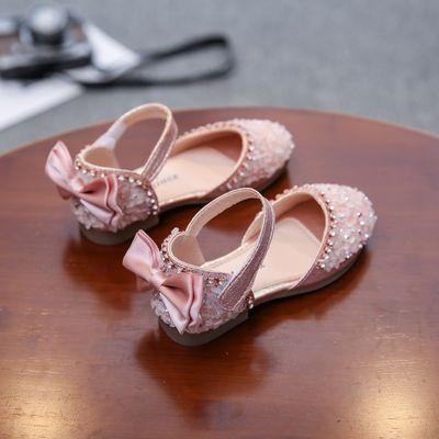 女童凉鞋公主鞋2020新款夏季时尚皮鞋水晶宝宝包头小女孩凉鞋平底