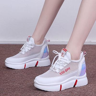 内增高女鞋网面透气2020新款春夏季黑色老爹鞋百搭8cm网红小白鞋
