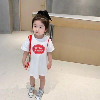 女童露背T恤中长款夏季短袖2020新款韩版小童洋气连衣裙t宝宝裙子