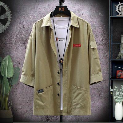 2020帅气男士工装衬衫男短袖夏季休闲七分袖韩版潮流衬衣简约寸衫