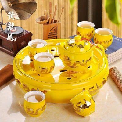 飞安尊龙高档陶瓷功夫茶具套装家用整套双层隔泡茶壶茶杯茶盘礼品