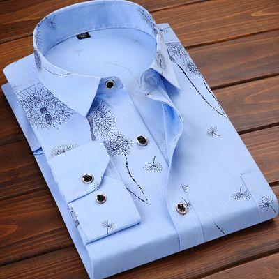 【24色】【高品质大码可选】春秋季男士衬衫商务免烫男士印花衬衫
