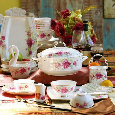 碗家用餐具套装景德镇陶瓷高档60头欧式手工描金边碗碟盘结婚送礼