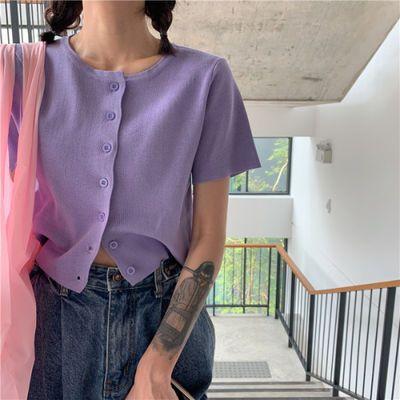 2020年韩版新款短款bm风开衫薄款洋气针织衫香芋紫外套上衣服女