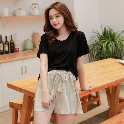 莫代尔ins睡衣女两件套韩版夏季薄款纯棉短袖学生性感可爱家居服