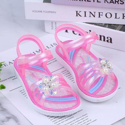 夏季韩版新款小中大女童软底防滑防水水晶塑料学生凉鞋公主鞋