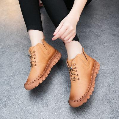 2019秋冬新款女鞋软底平底手工鞋大码真皮短靴女冬季新品休闲女靴