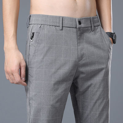 新款夏季薄款韩版松紧腰男士休闲裤直筒修身冰丝西裤长裤子男英伦