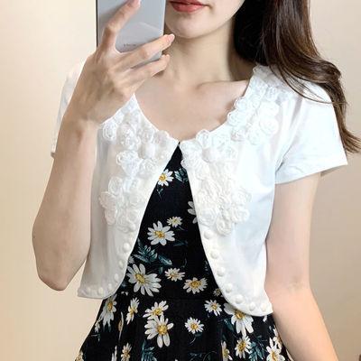 防晒衣女短款夏季新款开衫薄款小披肩外搭大码蕾丝针织外套空调衫