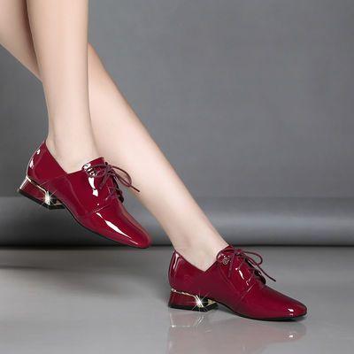 纯牛皮2020新款真皮深口圆头软底女鞋粗跟低跟单鞋豆豆鞋软皮皮鞋