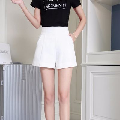 新款爆款短裤女春夏高腰2020宽松阔腿韩版百搭西装雪纺a字白色休