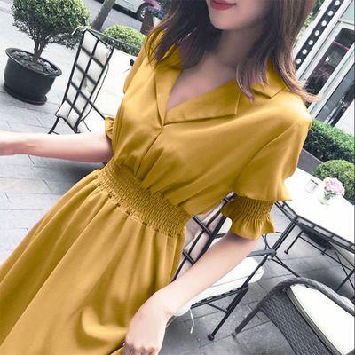 连衣裙2020新款裙子女夏季长款衣服时尚女装收腰长裙显瘦修身洋气