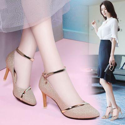 高跟鞋女2020新款韩版百搭女鞋细跟性感尖头中跟时尚单鞋一字扣