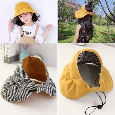 儿童帽子女童夏天防晒遮阳帽双面空顶帽网红大檐太阳帽亲子帽母女