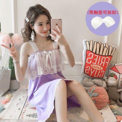 睡裙女夏2020新款纯棉吊带裙带胸罩可爱甜美公主风蕾花边吊带睡衣