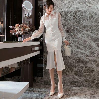 2020春装新款性感蕾丝拼接衬衫领灯笼袖开叉鱼尾中长款修身连衣裙