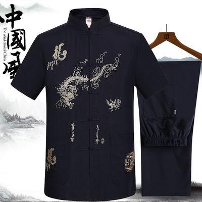 中老年人男士唐装短袖夏季薄款爸爸中国风两件套装盘扣爷爷装汉服
