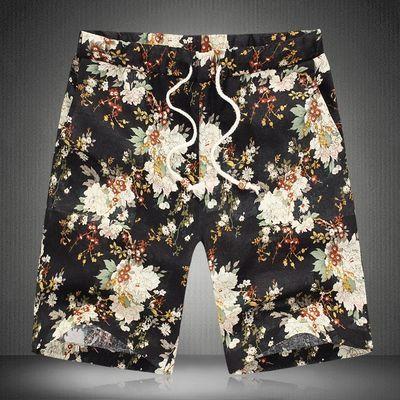夏装亚麻短裤男士加肥加大码碎花大裤衩宽松印花五分裤沙滩裤男裤