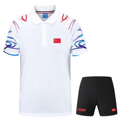 中国短袖运动服套装男女国家队国旗T恤情侣乒乓球衣翻领羽毛球服
