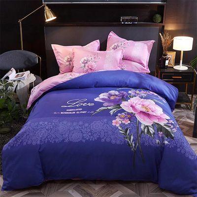 床上用品四件套加厚磨毛单双人中式爆款被套斜纹婚庆床单款三件套