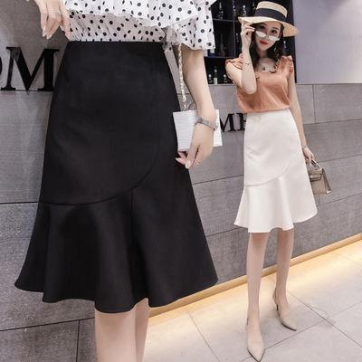 62724/高腰鱼尾裙2021夏季新款韩版百搭显瘦半身裙女中裙荷叶边包臀裙子
